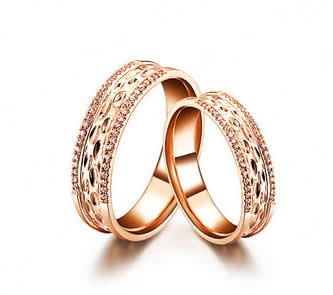 Luxury 18k Rose Gold Couple Rings - 20GG07