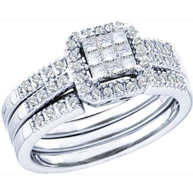 0.50 Carat (ctw) 14k White Gold Bridal Set - 20GG10