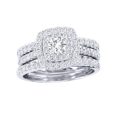 1 1/2ct TDW Diamond Halo Bridal Ring Set - 20GG13