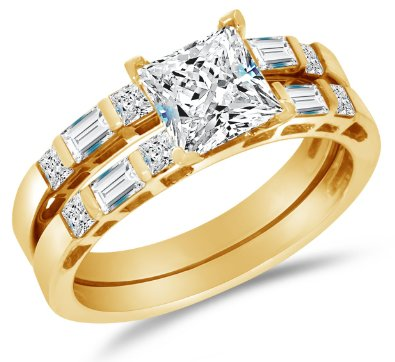 Solid 14k Yellow Gold Highest Quality CZ Cubic Zirconia Invisible Bridal Set - 20GG24