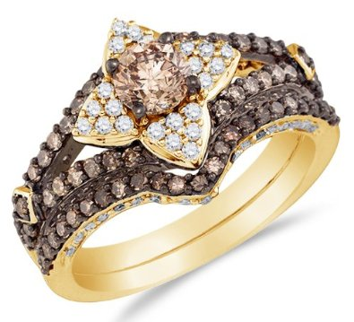 14K Yellow Gold Round Brilliant Cut Chocolate Brown and White Diamond Bridal Set - 20GG27