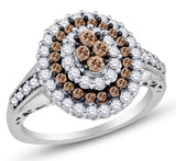 10K White Gold  Chocolate Brown and White Diamond Engagement Ring OR Fashion Band - 20GG31