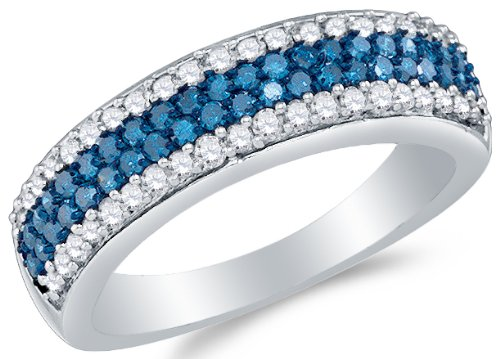 10K White Gold Blue and White Diamond Ladies Womens Wedding Band - 20GG32