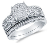 10K White Gold Round Brilliant Cut Diamond Bridal Set - 20GG43
