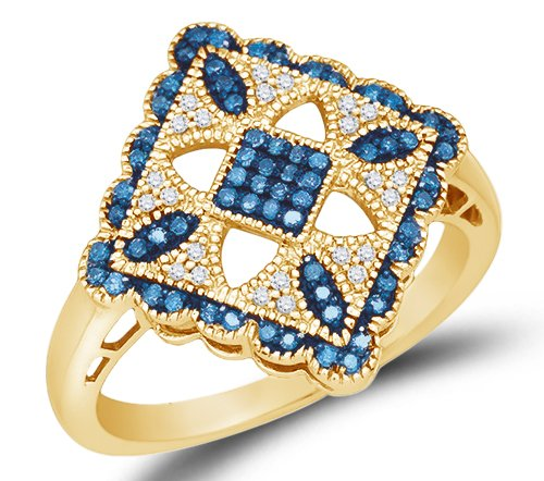 10K Yellow Gold Halo Channel Set Blue and White Diamond Engagement/Fashion Ring - 20GG44