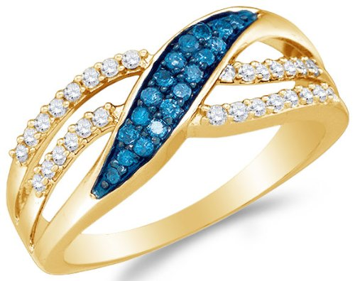 10K Yellow Gold Channel Set Round Brilliant Cut Blue and White Diamond Engagement Ring - 20GG46