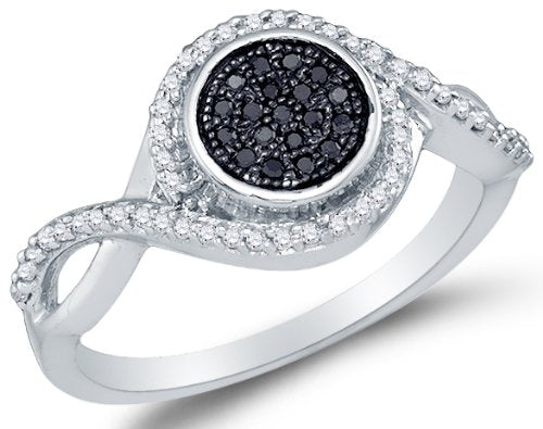 10K White Gold Round Brilliant Cut Black and White Diamond Engagement Ring - 20GG47