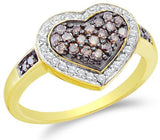 14K Yellow and White Two Tone Gold White and Chocolate Brown Diamond Halo Engagement Ring - 20GG48