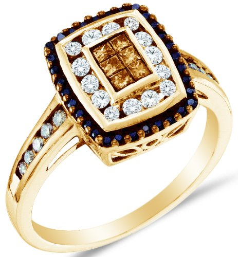 14K Yellow Gold Halo Invisible Set Princess and Round Cut Chocolate Brown and White Diamond Engagement Ring - 20GG50