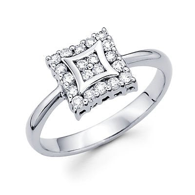 14k White Gold Square Diamond Engagement Ring - 20GG52