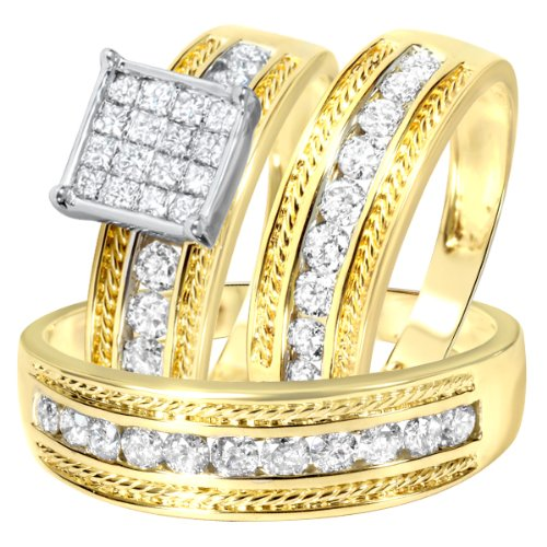 1 3/8 Carat T.W. Round, Princess Cut Diamond Wedding Set - 20GG63