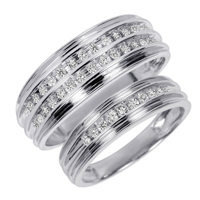 3/8 Carat T.W. Round Cut Diamond Wedding Sets - 20GG65