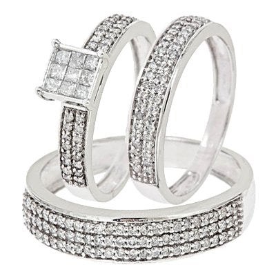 1 CT. T.W. Round, Princess Cut Diamond Wedding Set - 20GG67