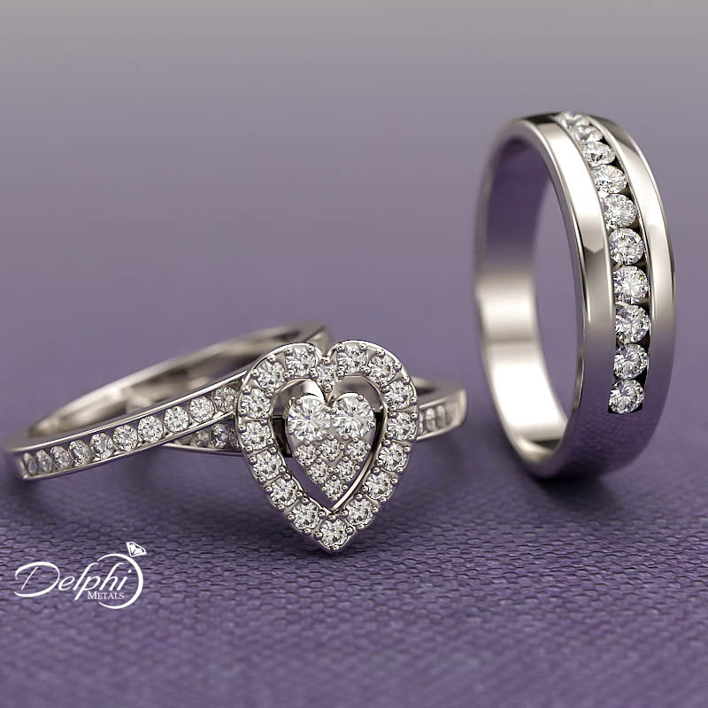 Heart Shape Trio Wedding Set - 20GG71