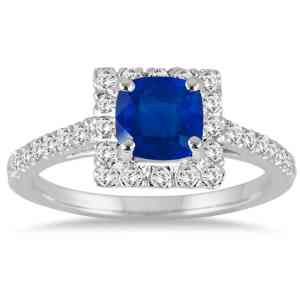 Cushion Cut Sapphire and Diamond Engagement Ring - 20GG96