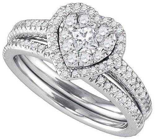 14k White Gold Round & Princess Natural Diamond Heart-shaped Bridal Set - 20GG99