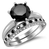 3.02ct Black Round Diamond Bridal Set - 21GG00
