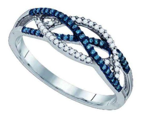 0.25 cttw 10k White Gold Blue Diamond Criss Cross Twist Crossover Engagement Ring - 21GG04