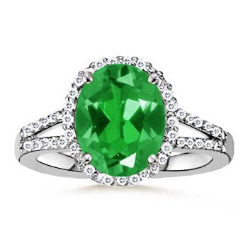 3.5 ct Split Shank Oval Lab Created Emerald Ring with Diamonds - 21GG13