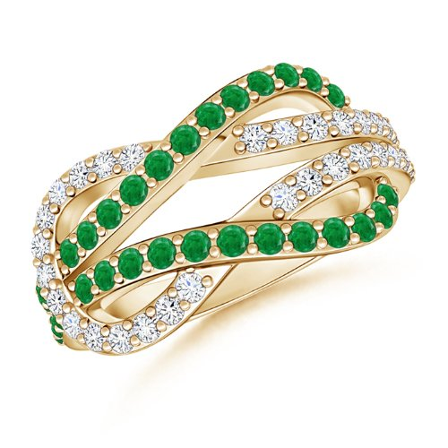 Emerald and Diamond Love Knot Ring - 21GG14