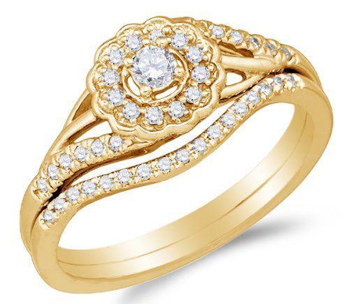 10K Yellow Gold Halo Prong Set Round Brilliant Cut Diamond Bridal Set - 21GG34
