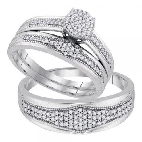 0.40 Carat (ctw) 10K White Gold Wedding Set - 21GG36