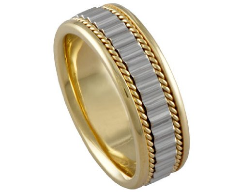 Men's Two Tone 18k Yellow White Gold 7mm Wedding Band - 21GG39