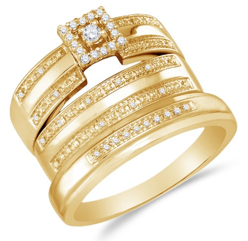 Diamond Mens and Ladies Wedding Set - 21GG55