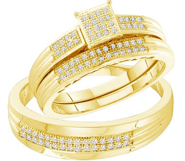 10K Gold Couple's Diamond Wedding Band Set (1/4 cttw) - 21GG57