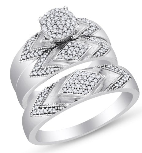 Diamond Mens and Ladies Wedding Set - 21GG59
