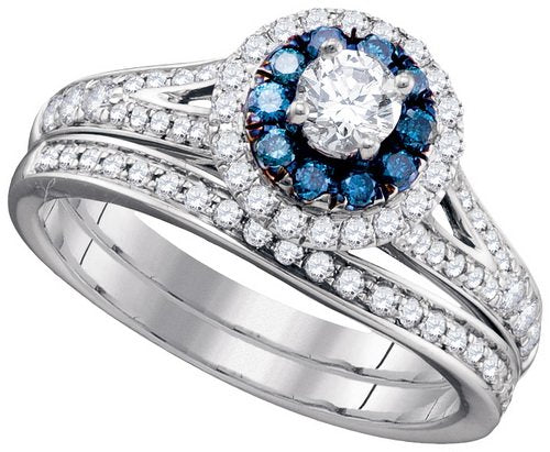 0.86Ctw Blue Diamond Bridal Set - 21GG73