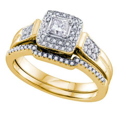 0.50 Carat Princess Cut & Round Diamond Bridal Set - 21GG76