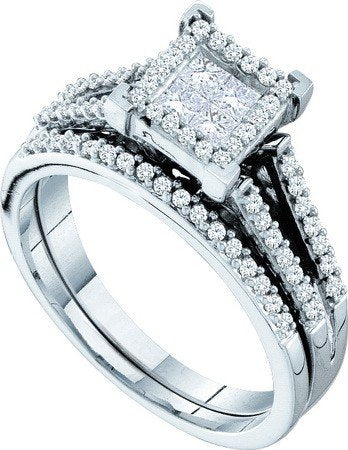 0.50 Carat Princess Cut Invisible & Round Diamond Bridal Set - 21GG79