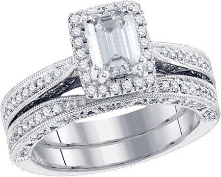 1.73 Carat Emerald Cut & Round Diamond Bridal Set - 21GG81
