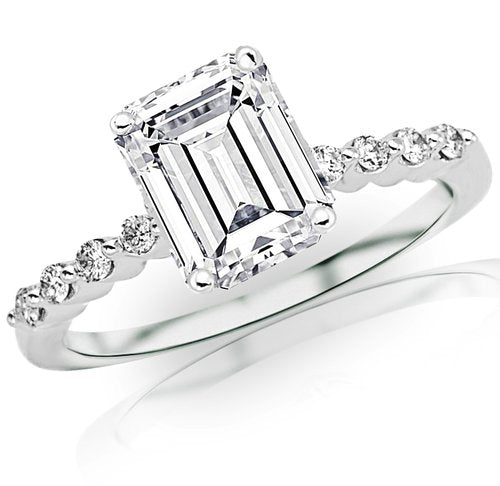 0.61 Carat Emerald Cut / Shape 14K White Gold with Diamond Engagement Ring - 21GG82