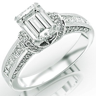 1.36 Carat Emerald Cut / Shape 14K White Gold  Pave Round Cut Diamond Engagement Ring - 21GG83