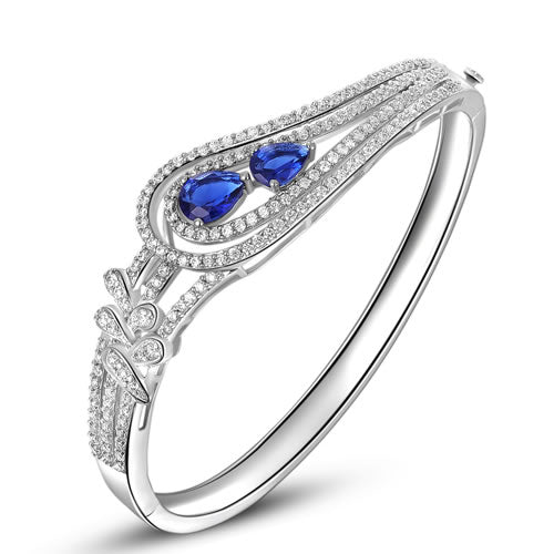 Blue Sapphire Engagement Ring - Belt Buckle Design - 21GG84