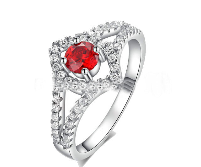 Sterling Silver with Ruby Engagement Ring - 07AB46