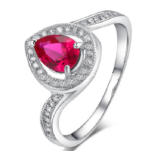 Sterling Silver Ruby with Diamonds Engagement Ring - 07AB48