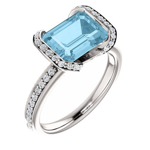 White Gold 9x7 Emerald Cut Aquamarine and Diamond Ring - 21GG90
