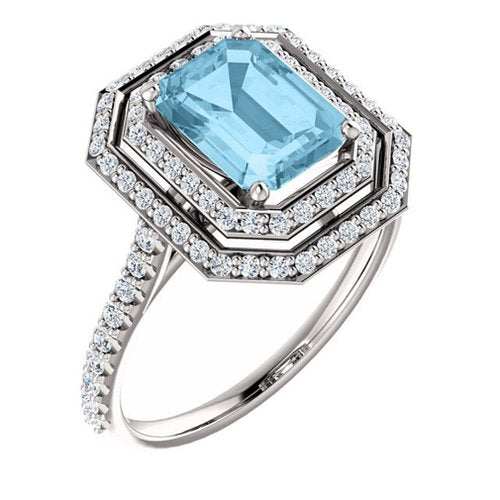White Gold 8x6 Emerald Cut Aquamarine and Diamond Ring - 21GG91