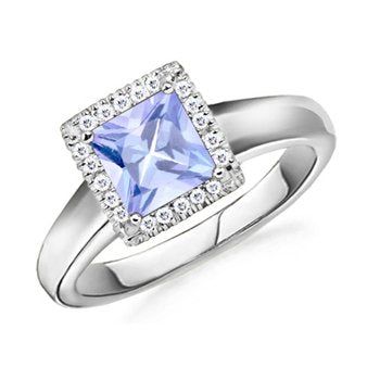 Square Tanzanite and Diamond Engagement Ring - 22GG14