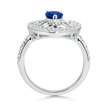 Pear Sapphire and Round Diamond Ring - 22GG17