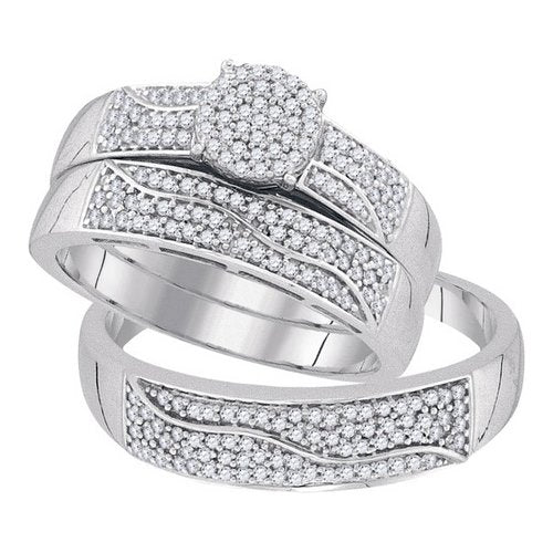 His and Hers Micro Pave Diamond Wedding Set - 22GG23