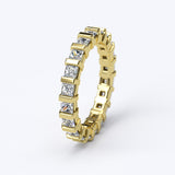 3.4ct Princess Cut Channel Gold Wedding Band - 27GG17