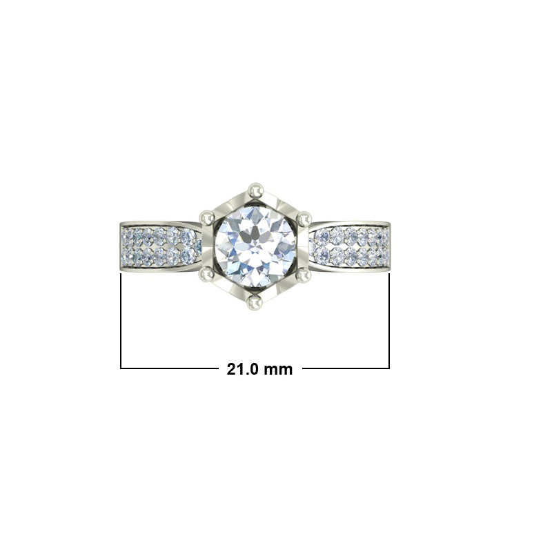 1.29ct Brilliant Cut Gold Crown Inspired Engagement Ring - 27GG48