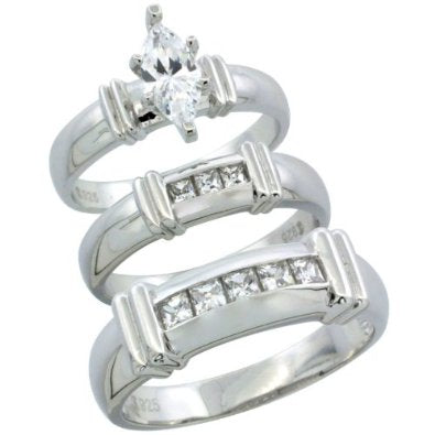STERLING SILVER WEDDING SET