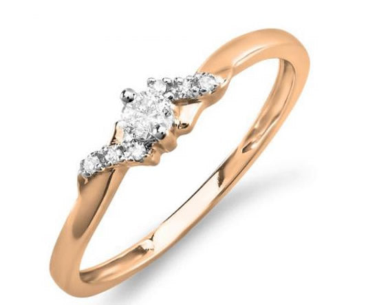 0.18 Carat (Ctw) 10k Rose/Yellow Gold Round Diamond Ladies Bridal Promise Engagement Ring - KS966