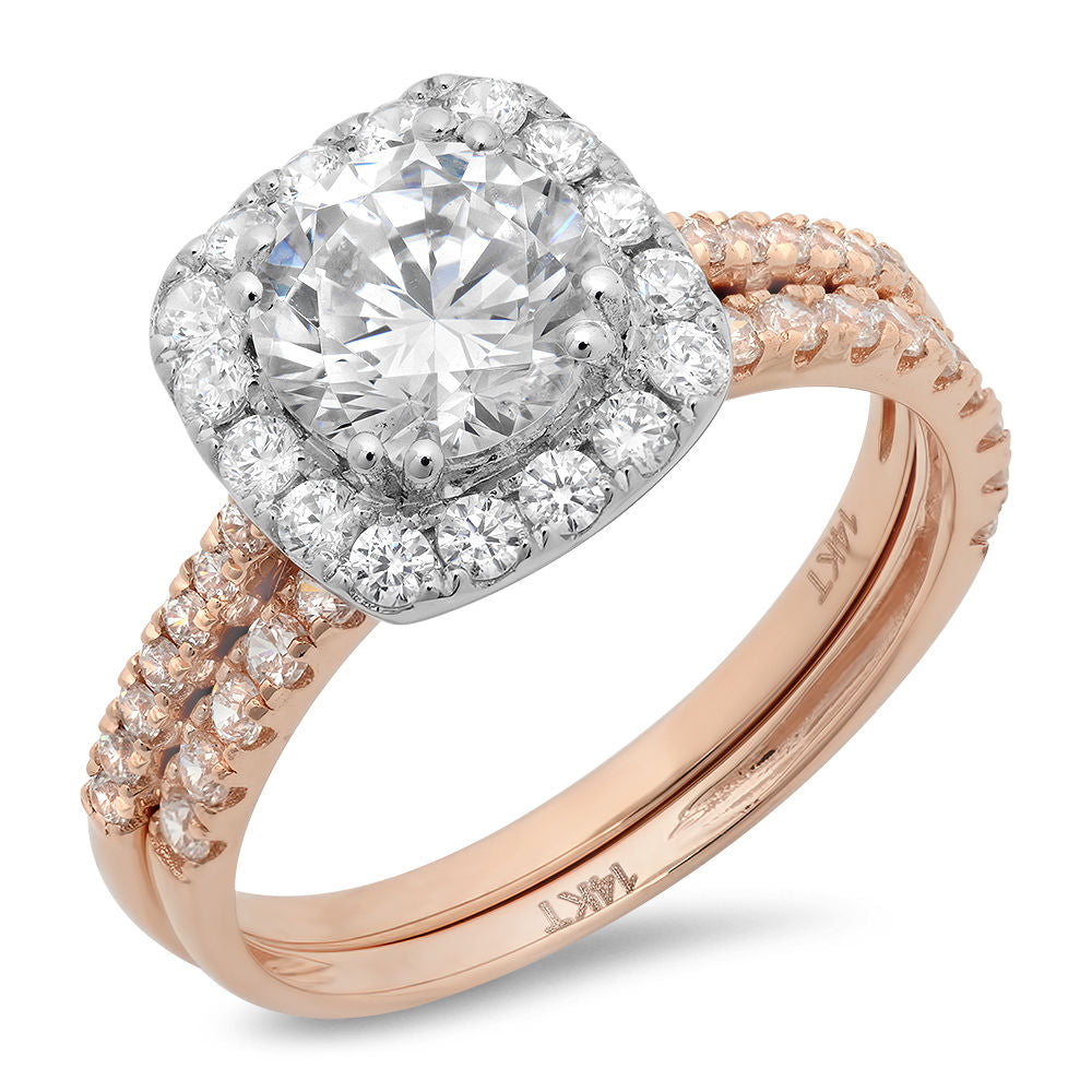 Rose Gold with Diamond Bridal Set - 24GG11