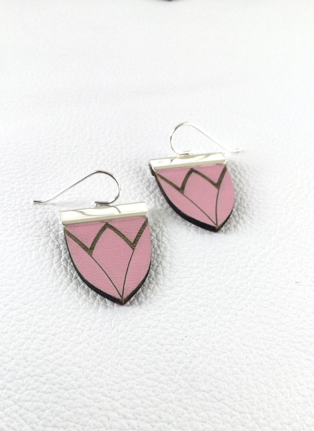 Magnolia Shield Earrings-Bubblegum Pink
